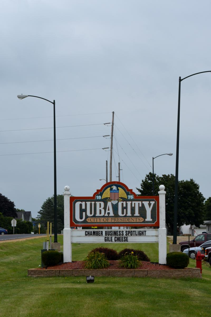 Cuba City Welcome Sign