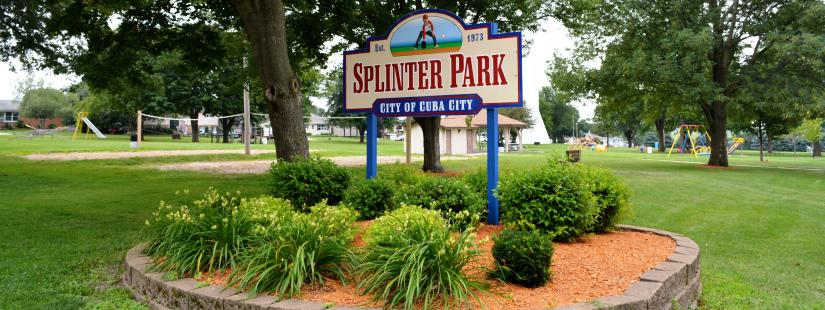 Splinter Park sign in Cuba city park